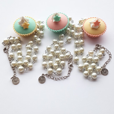 Pearl pink yellow blue pastel star frosting cupcake short necklace goth harajuku fashion