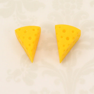 Cheese head stud earrings v2 - cheesehead jewelry - fake food - handmade - wisconsin - football