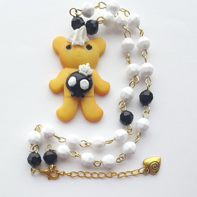 Black white bead chain teddy bear cookie biscuit whipped cream necklace skull frosting kawaii goth harajuku fashion