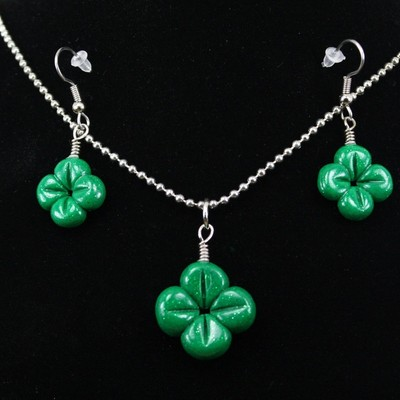 Four leaf clover necklace and earring set - st. patricks