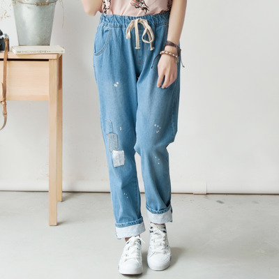 Blue mori girl pure cotton jeans casual pants trousers sp154030