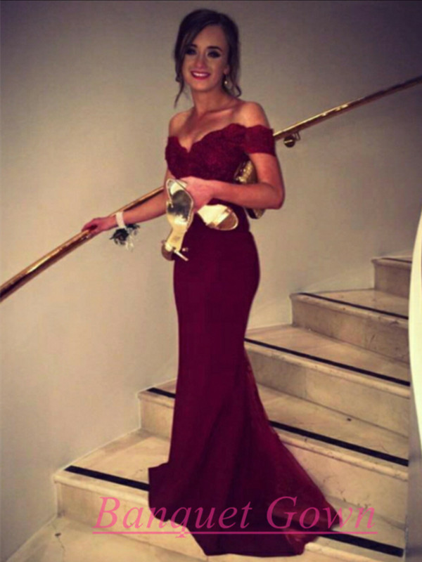 Prom Gown,Pretty Off Shoulder Chiffon Burgundy Prom Dresses With ...