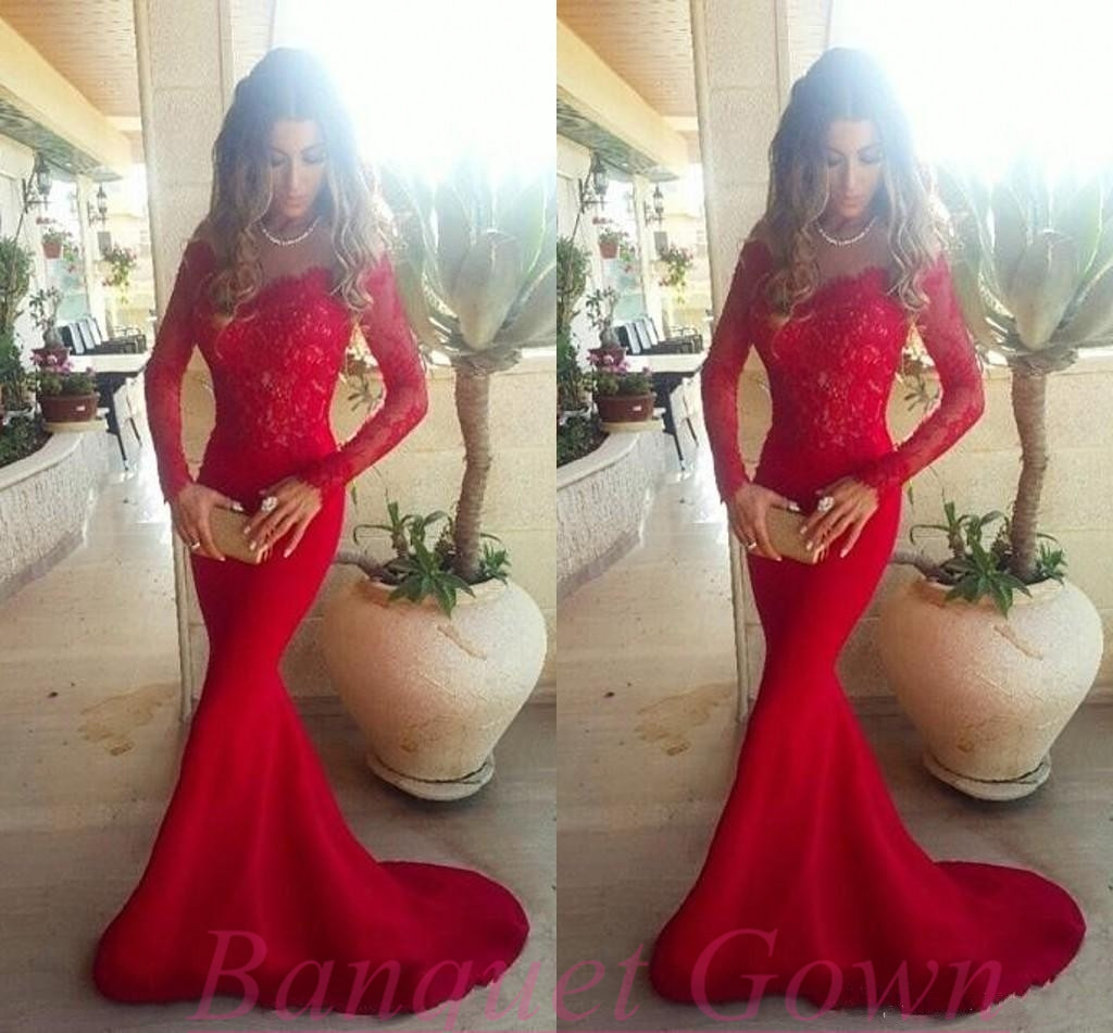 Long red lace mermaid prom dress