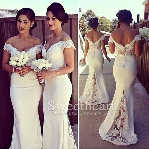 collections prom dress products white lace mermaid shoulder long formal dresses
