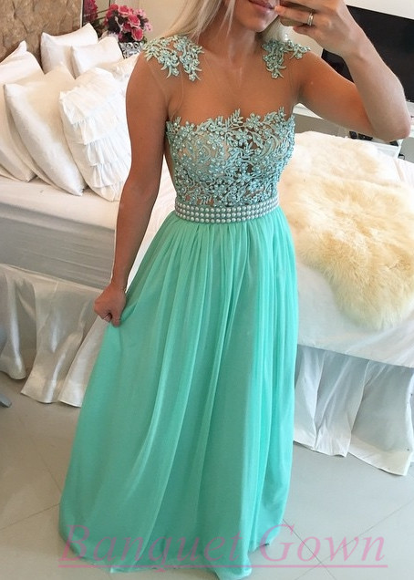 2016 Mint Green Lace Pearls Chiffon Prom Dresses Sheer Neck Capped ...