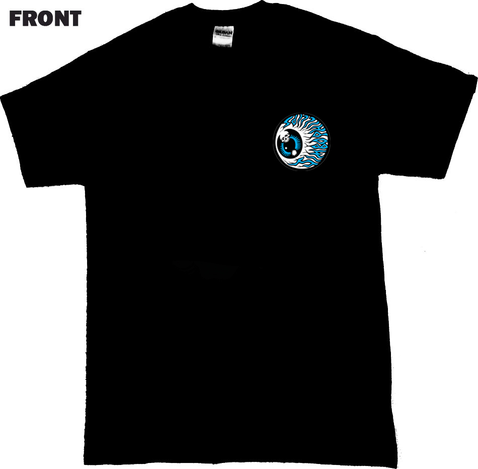Black t shirt front - Surf Skate 100 Cotton Black Tshirt Thumbnail 1