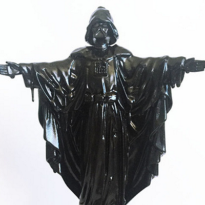 "12""h x 7""w x 4""d - ""our father"" custom melted black resin sculpture"