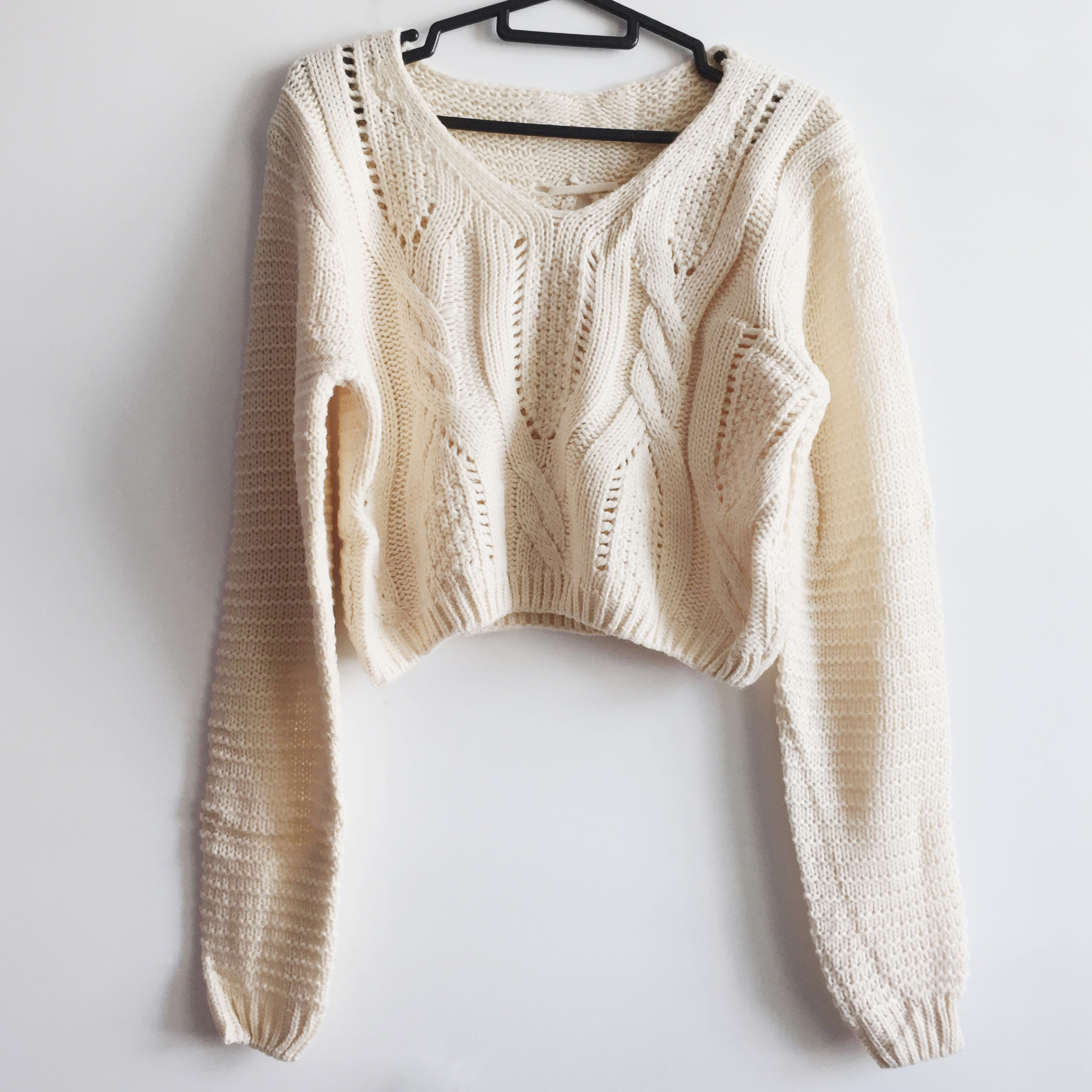 Lace Up Back Cropped Knit Sweater (Cream) · Megoosta Fashion ...