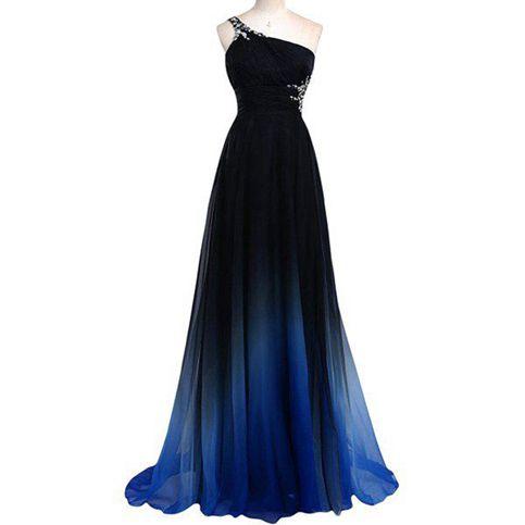 Black and blue prom dresses, one shoulder long prom dresses,evening ...
