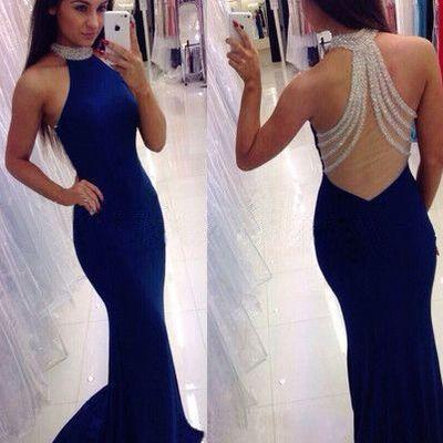 navy blue long prom dress,mermaid backless long prom dresses