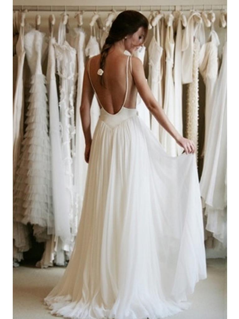 V neck straps open back chiffon a line lace wedding dress for Backless wedding dresses online