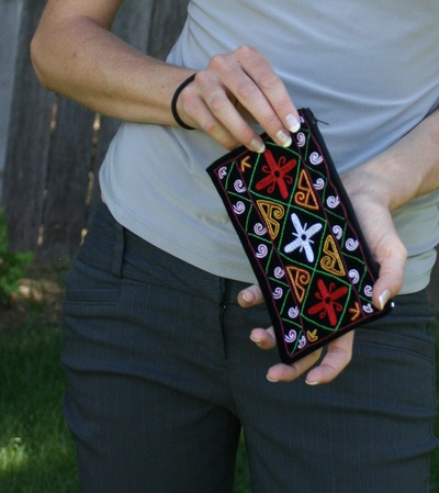 Velvet clutch with multi-colored floral karakalpak embroidery
