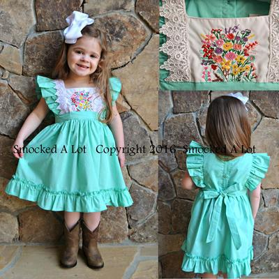 """hadlie"" mint ruffle & lace floral embroidered dress"