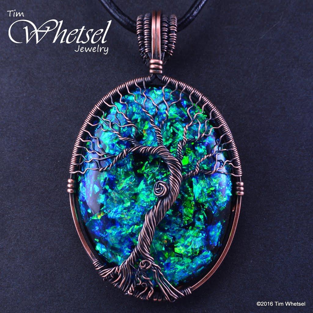 Copper Tree of Life Wire Wrap Pendant - Opalescent Orognite ...