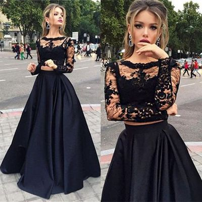Formal Dress Two Pieces Long Prom Dressa Line Long Sleeve Prom
