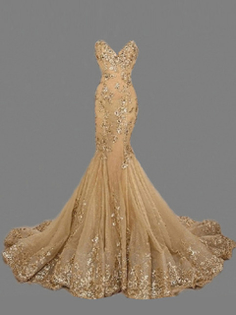 country prom dresses,Gold Trumpet/Mermaid Sweetheart Organza Prom ...