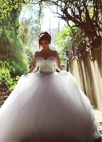 Crystal Beaded Bodice Long Sleeve Wedding Dress,Ball Gown Tulle ...