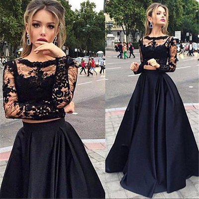 Beauty A-Line Long Sleeve Floor-Length Satin Black Prom Dresses ...