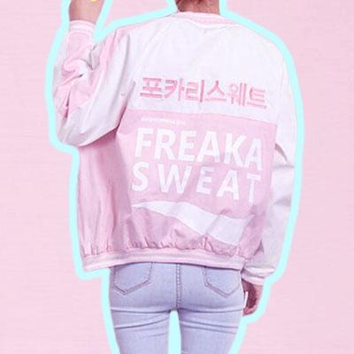 HARAJUKU VINTAGE BOMBER JACKET pink · foreveronline · Online Store ...