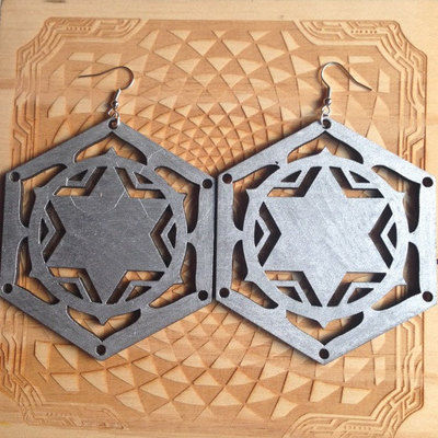 Metatrons cube laser-cut wood earrings
