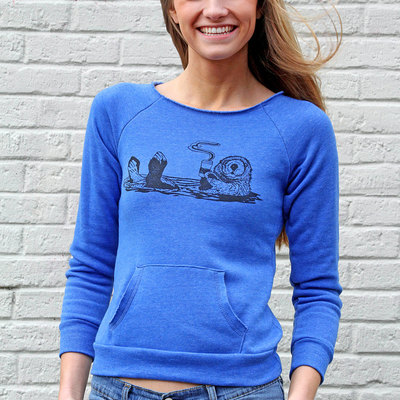 Otter sweatshirt, organic cotton, yoga pullover, blue sweatshirt, coffee sweatshirt, lounge top, otter pullover, coffee animal, womens shirt