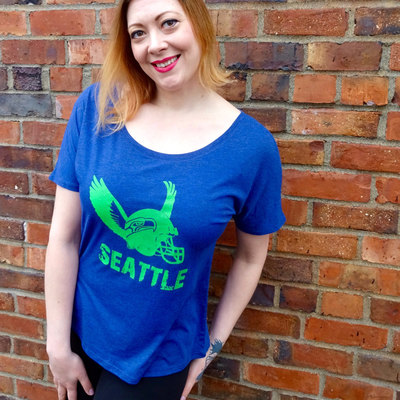 Gift for women, seattle seahawks, graphic tee, vintage seahawks shirt, football shirt, tri blend, scoop neck, fan gear, blue and green