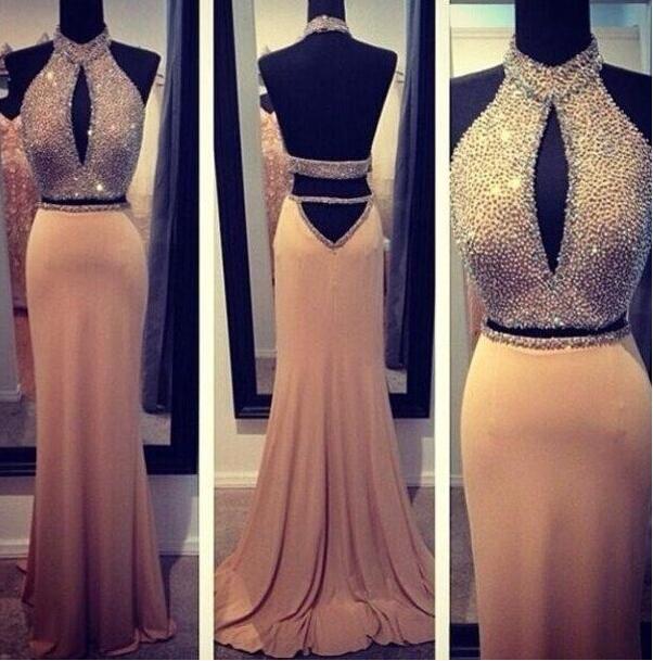 Custom Made A Line Backless 2 Pieces Prom Dresses, Party Dresses ...