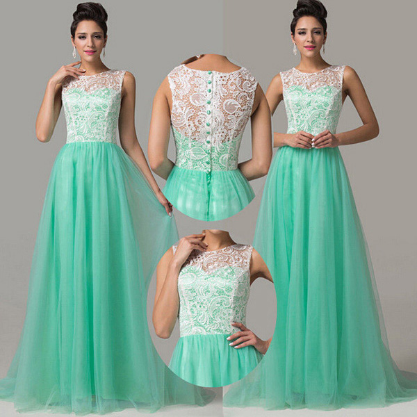 Aqua High Neck Prom Dress with White Lace Bodice, Sleeveless Prom ...