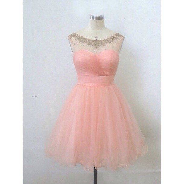 Sweetheart Cute Transparent Pearl Pink Homecoming Dresses,Ball Gown ...