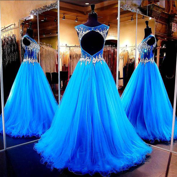 Cap Sleeve Tulle Prom Dresses with Beaded