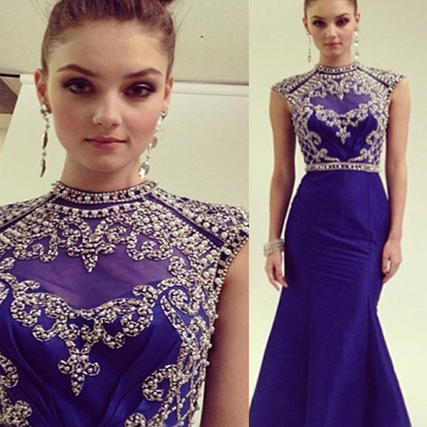 Beaded Cap Sleeve Prom Dress with High Neck, Cap Sleeve Royal Blue ...