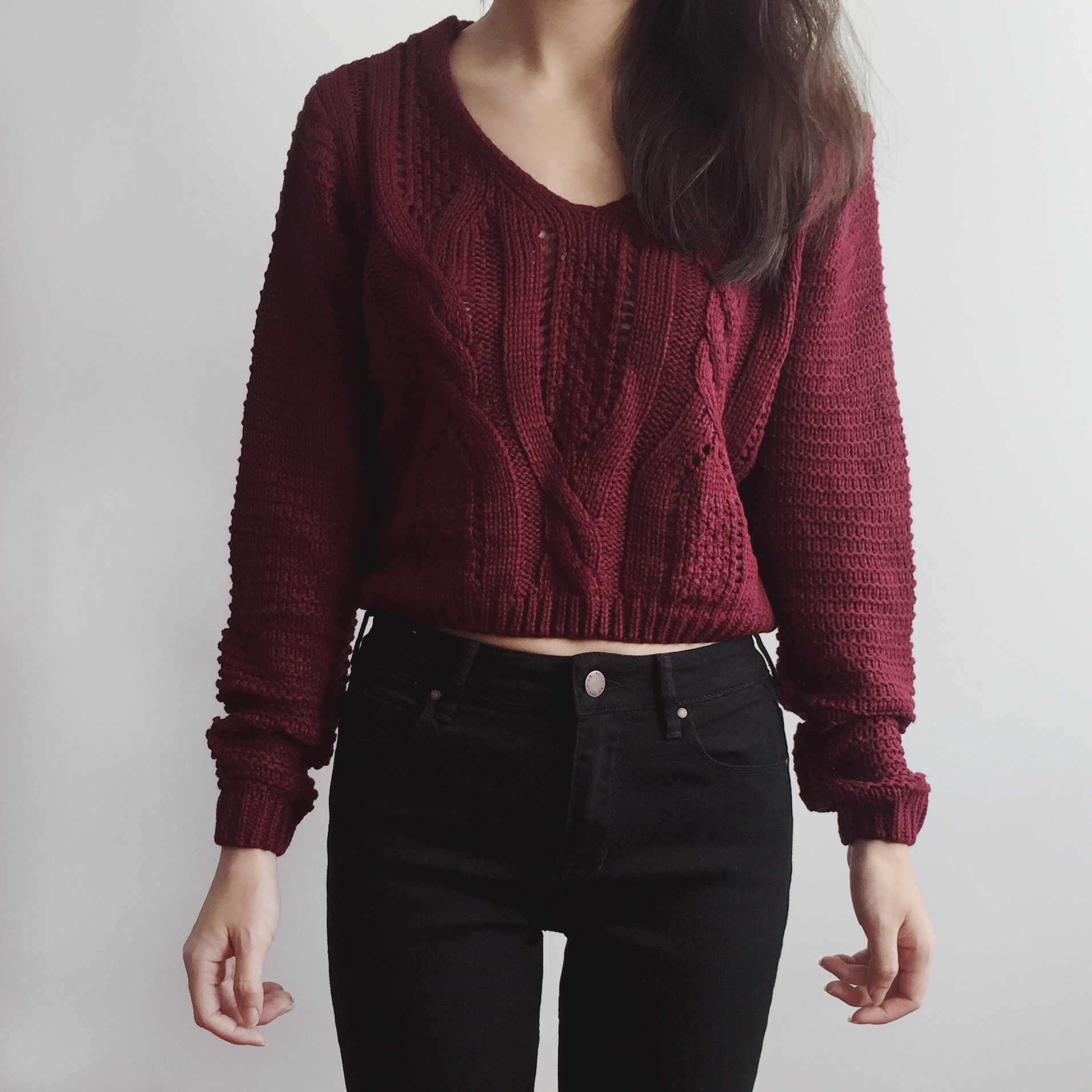 Lace Up Back Cropped Knit Sweater (Maroon) · Megoosta Fashion ...