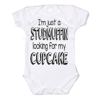Studmuffin looking for his cupcake baby one piece