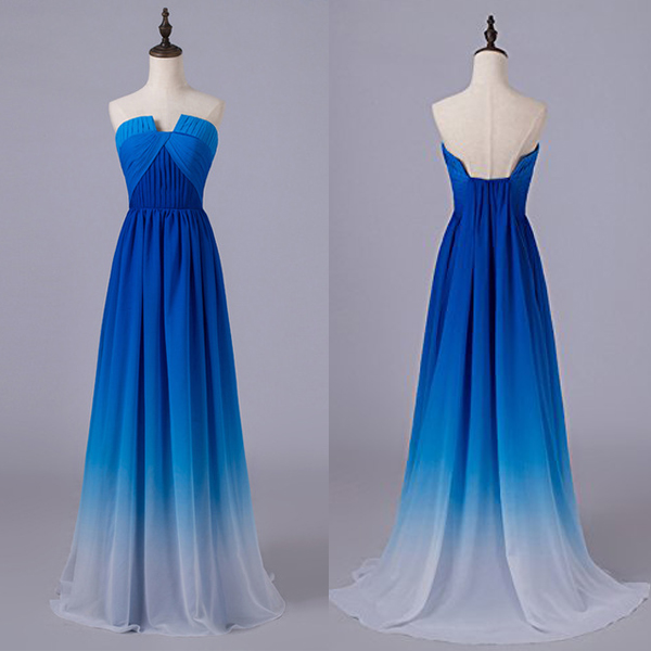 Royal Blue Gradient Prom Dresses,U Neck Ombre Long Prom Dresses ...