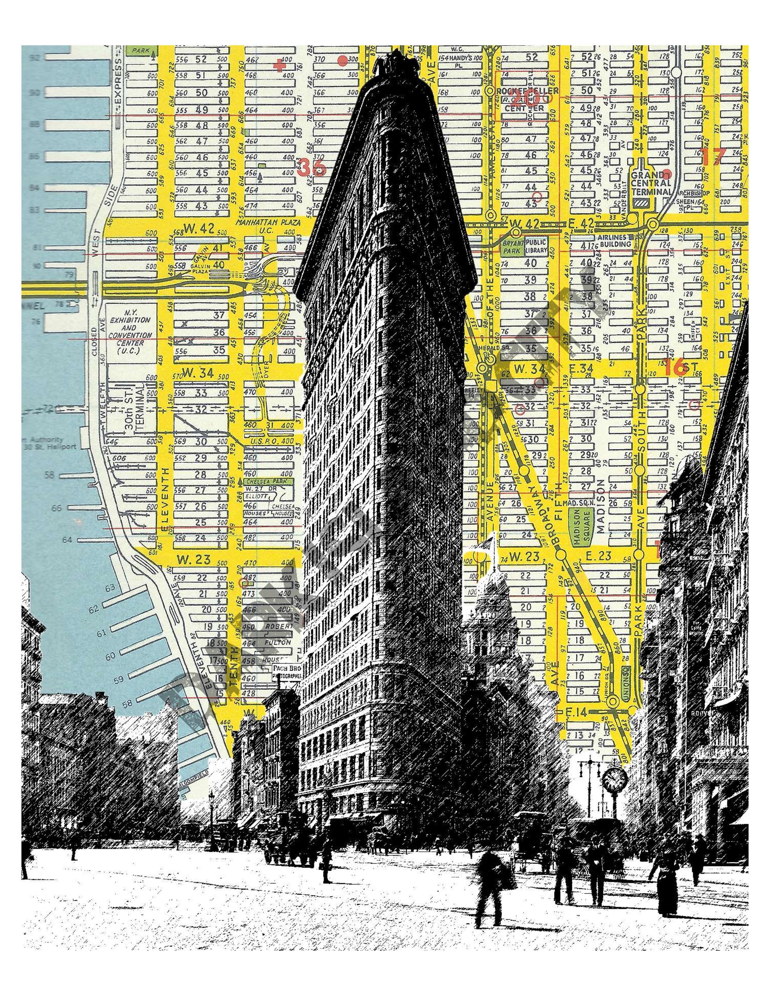 Large Print Flatiron Building NYC Map Background Landmark - Nyc map to print