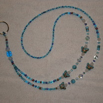 Beaded Lanyard Aqua/Butterfly