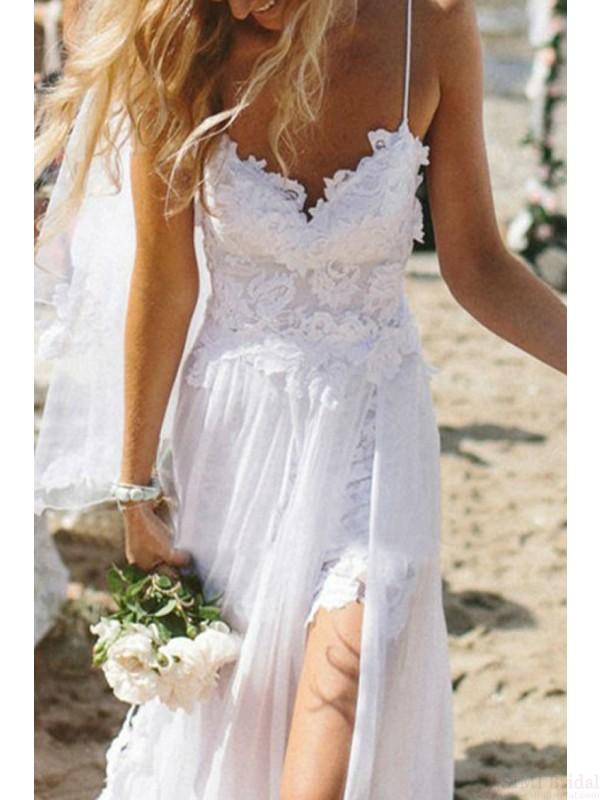 White Wedding DressesLace DressesBeach DressesSplit Dresses