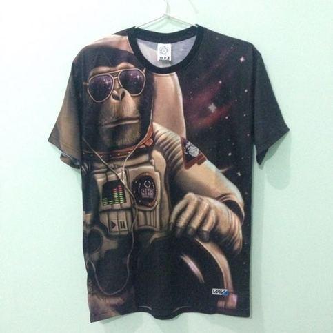 Monkey space astronaut full print t shirt on storenvy for Full t shirt printing