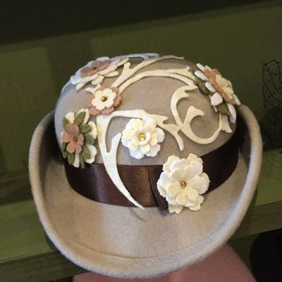 Embellished mini bowler hat
