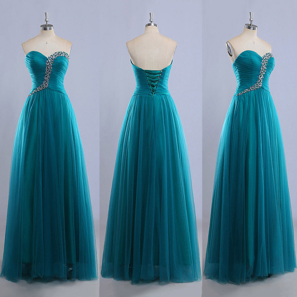 Sweetheart Floor Length Ball Gowns Gorgeous Tulle Prom Dress With