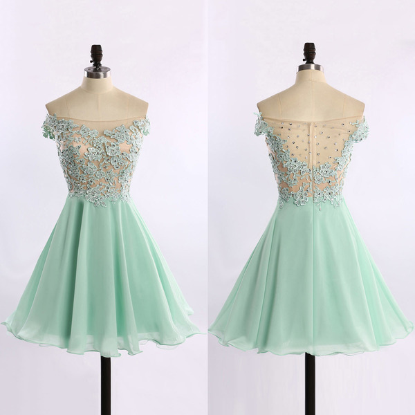 Off-the-shoulder Chiffon Prom Dresses with Lace Appliques, See ...