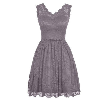 Modest gray short cheap lace bridesmaid dress under 100 for Short cheap wedding dresses under 100