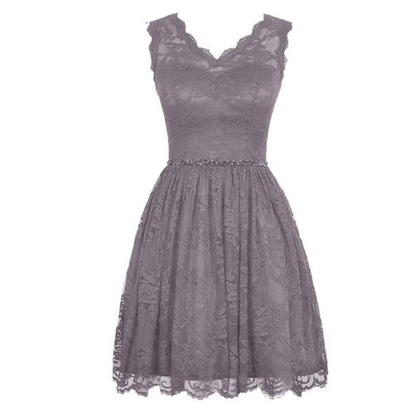 Modest Gray Short Cheap Lace Bridesmaid Dress Under 100fs155