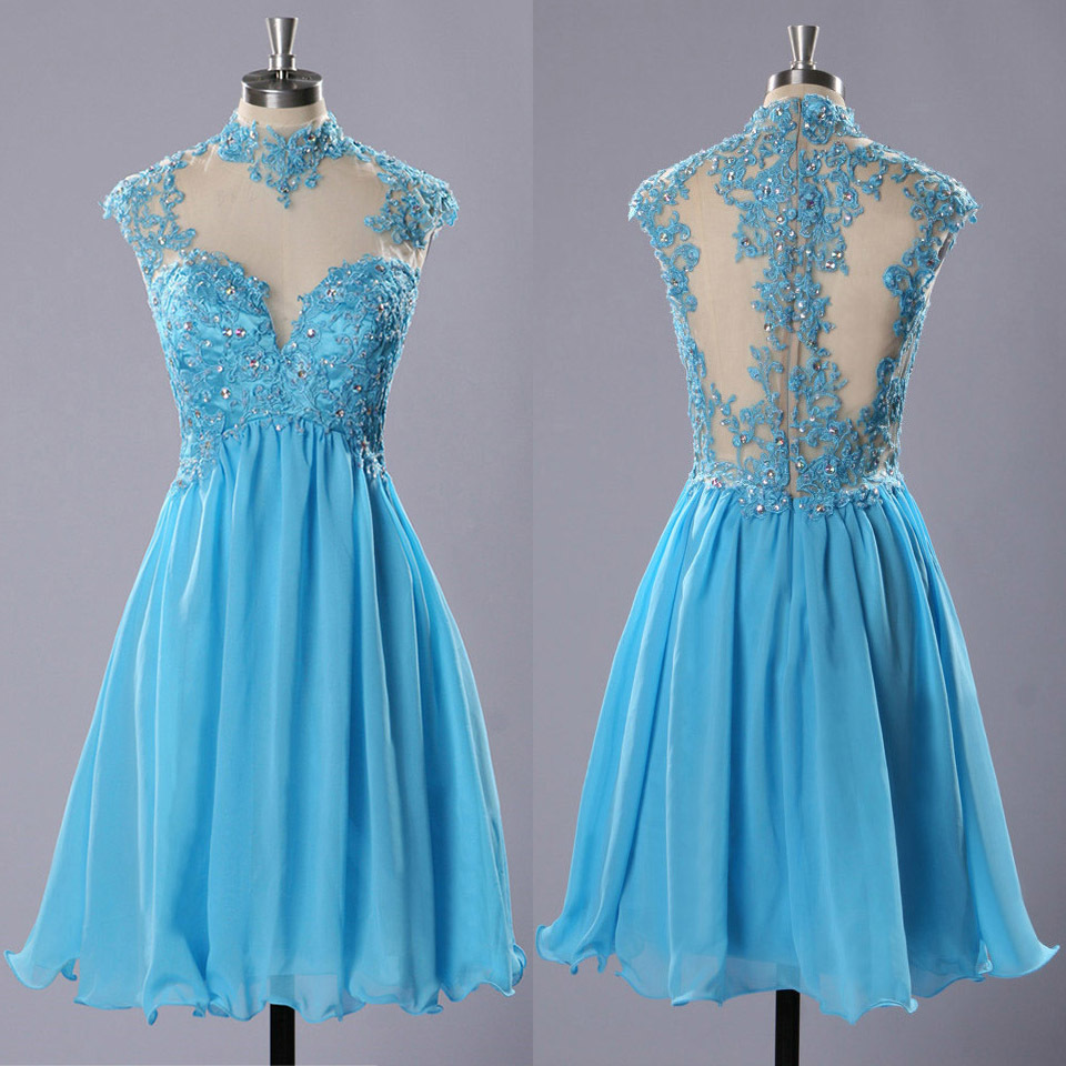 High Neck Prom Dresses with Lace Appliques, Light Blue Chiffon ...
