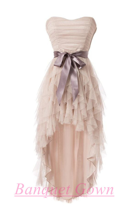 Cheap simple high low tulle homecoming cocktail dresses for Cute simple wedding dresses