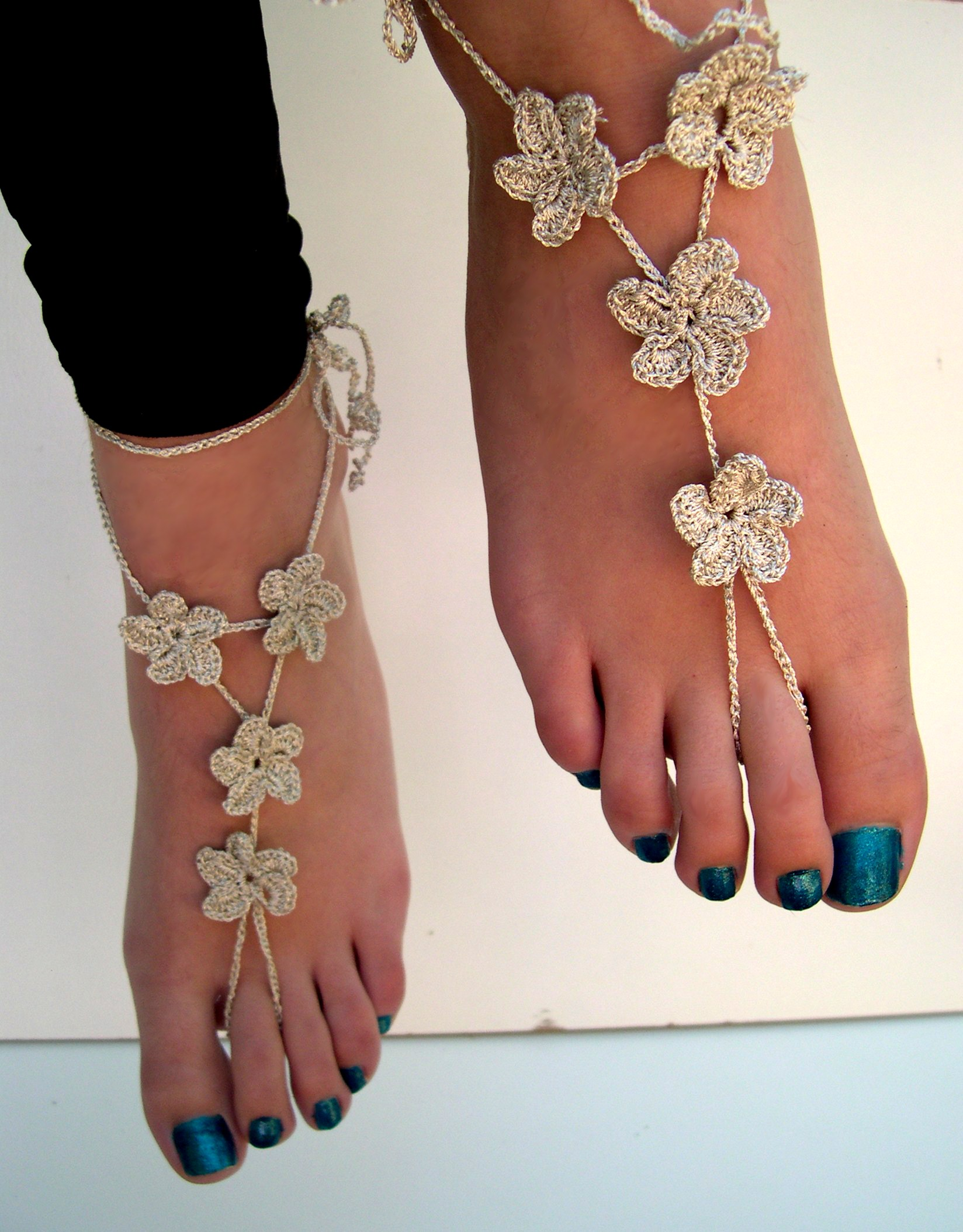 flower barefoot sandals silver barefoot sandles crocheted anklet foot jewelry beach wedding
