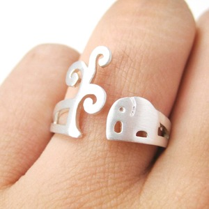Elephant Under A Tree Ring in Silver - Size 5 to 8 Available