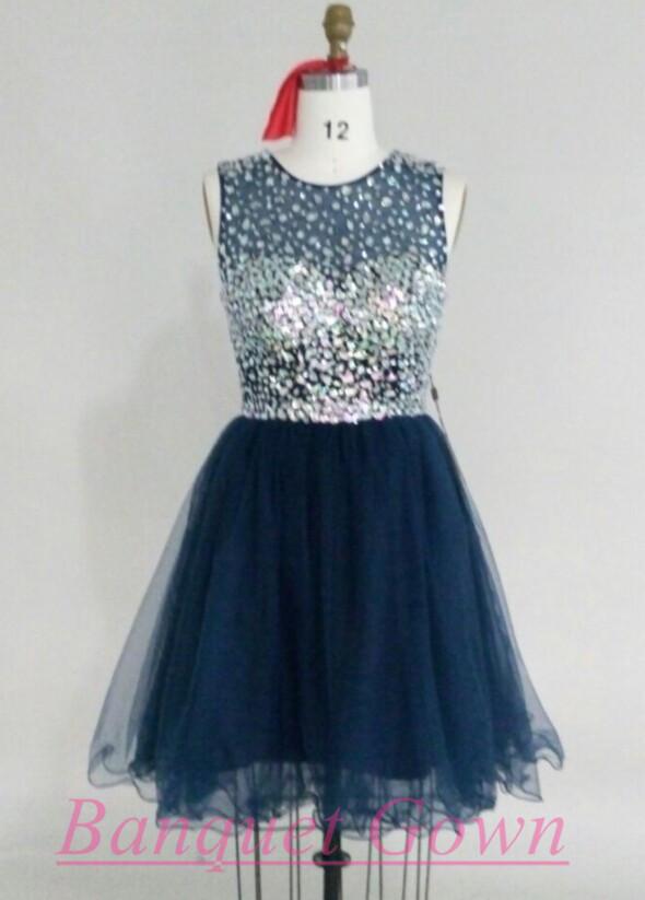 Navy Blue Prom Dress,Lovely Prom Dresses,Short Prom Dress,Tulle ...