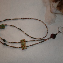 Beaded Lanyard Rust/Green/Natural