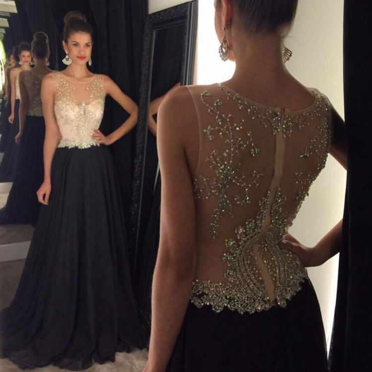 Affordable Illusion Prom Dresses, Sleeveless Beaded Chiffon Prom ...